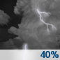 Tonight: Scattered showers and thunderstorms, mainly before 2am.  Mostly cloudy, with a low around 72. South wind around 5 mph becoming calm  in the evening.  Chance of precipitation is 40%. New rainfall amounts of less than a tenth of an inch, except higher amounts possible in thunderstorms.