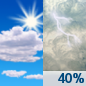 Friday: A chance of showers and thunderstorms, mainly after 1pm.  Mostly sunny, with a high near 95. Heat index values as high as 105. Light southwest wind increasing to 5 to 9 mph in the morning.  Chance of precipitation is 40%. New rainfall amounts of less than a tenth of an inch, except higher amounts possible in thunderstorms.